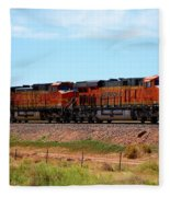 Orange Bnsf Engines Fleece Blanket
