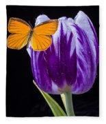 Orange Butterfly On Purple Tulip Fleece Blanket