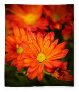 Orange Chrysanthemum Fleece Blanket