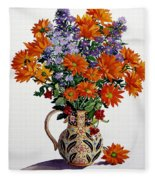 Orange Chrysanthemums Fleece Blanket