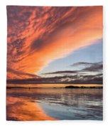 Orange Clouds Over Humboldt Bay Fleece Blanket