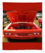 Orange Color Chevrolet Car Fleece Blanket