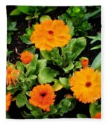Orange Country Flowers - Series I Fleece Blanket