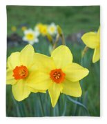 Orange Daffodils Flowers Spring Garden Fleece Blanket