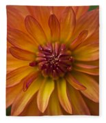 Orange Dahlia Blossom Fleece Blanket