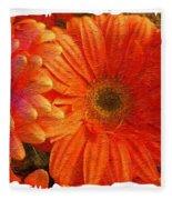 Orange Daisies Painterly With Border Fleece Blanket