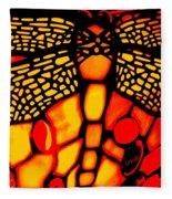 Orange Dragonfly Fleece Blanket