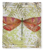 Orange Dragonfly On Vintage Tin Fleece Blanket