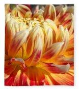 Orange Floral Art Dinner Plate Dahlia Flower Fleece Blanket