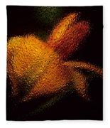 Orange Floral In Abstract Fleece Blanket