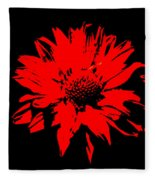 Orange Flower Burst  Fleece Blanket