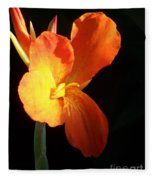 Orange Flower Canna Fleece Blanket