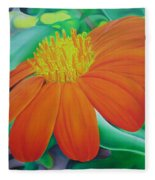 Orange Flower Fleece Blanket