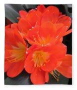 Bright Orange Flowers Fleece Blanket