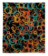 Orange Geometric Circle Segment Pattern Fleece Blanket