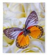 Orange Gray Butterfly Fleece Blanket