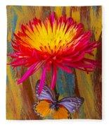 Orange Gray Butterfly On Mum Fleece Blanket