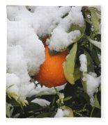Orange In Snow Fleece Blanket