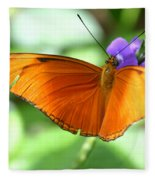 Orange Julia Butterfly Fleece Blanket