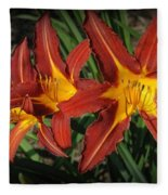 Orange Lillies Fleece Blanket