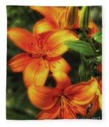 Orange Lillies Fleece Blanket