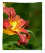 Orange Lily Fleece Blanket