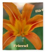 Orange Lily Birthday Fleece Blanket