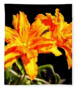 Orange Lily Twins Fleece Blanket