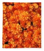 Orange Mums Fleece Blanket