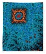 Orange On Blue Abstract Fleece Blanket