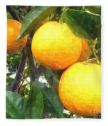 Orange On Tree Fleece Blanket
