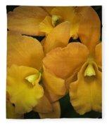 Orange Orchid Group Fleece Blanket