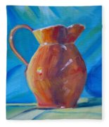 Orange Pitcher Still Life Fleece Blanket