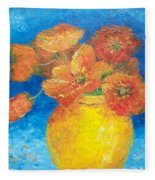 Orange Poppies In Yellow Vase Fleece Blanket