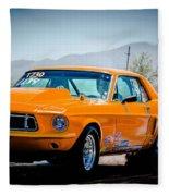 Orange Racing Mustang Fleece Blanket