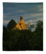 Orange Rock Among The Trees Fleece Blanket