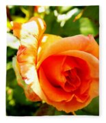 Orange Rose Bloom Fleece Blanket