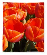 Orange Spring Tulip Flowers Art Prints Fleece Blanket