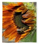 Orange Sunflower And Bee Fleece Blanket