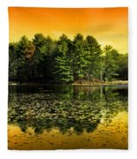 Orange Sunrise Reflection Landscape Fleece Blanket