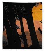Orange Sunset Forest Fleece Blanket