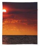 Orange Sunset Over Oyster Bay Fleece Blanket