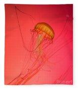 Orange Swimming Jellyfish Fleece Blanket