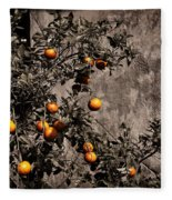 Orange Tree On Rustic Background Fleece Blanket
