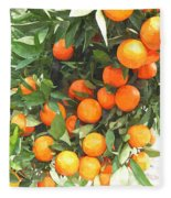 Orange Trees With Fruits On Plantation Fleece Blanket