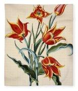 Orange Tulip Fleece Blanket