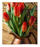 Orange Tulips In Copper Pitcher Fleece Blanket