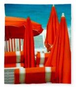 Orange Umbrellas Fleece Blanket