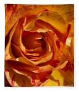 Orange Variegated Rose Fleece Blanket