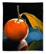 Orange With Leaf Fleece Blanket
